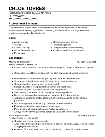 Medical Unit Secretary resume template Mississippi