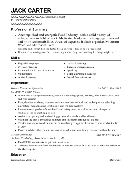 Human Resources Specialist resume template Mississippi