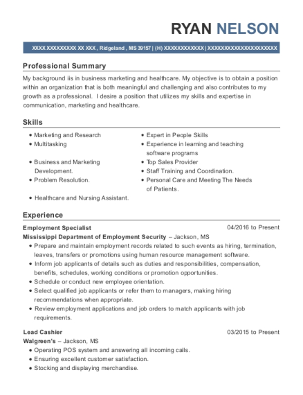 Employment Specialist resume template Mississippi
