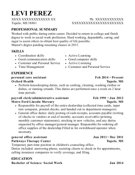 personal care assistant resume format Mississippi