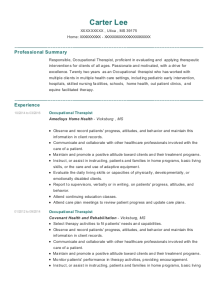 Occupational Therapist resume sample Mississippi