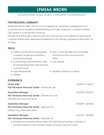 Senior Teller resume sample Mississippi