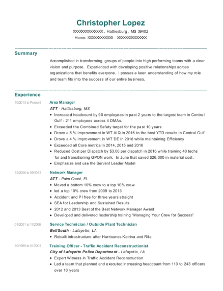 Area Manager resume example Mississippi