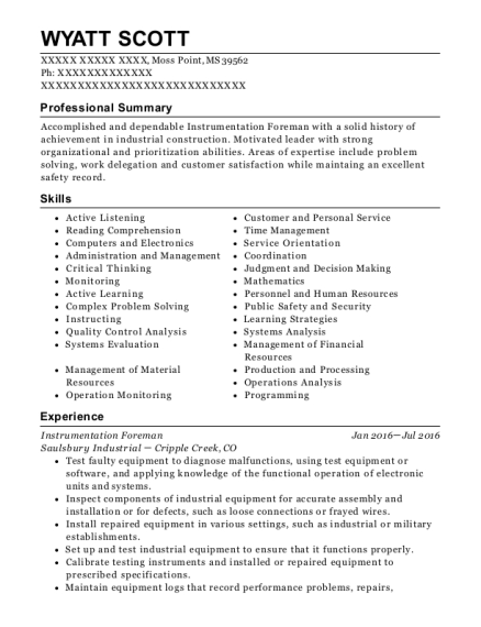 Saulsbury Industrial Instrumentation Foreman Resume Sample Moss