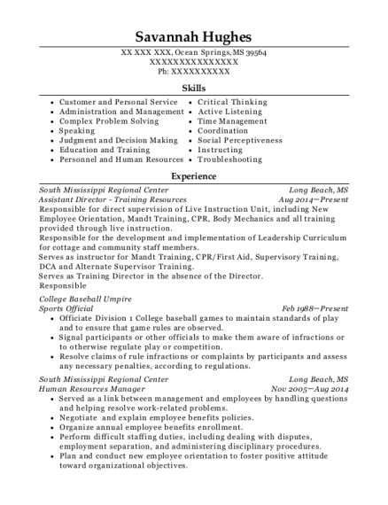 Assistant Director Training Resources resume format Mississippi