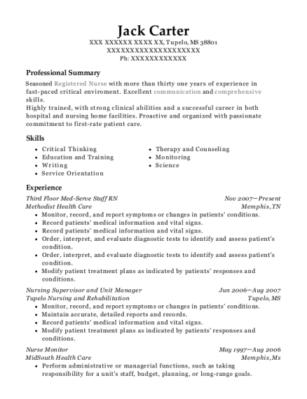 Third Floor Med Serve Staff RN resume format Mississippi