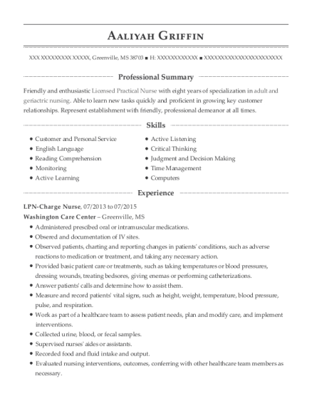 LPN Charge Nurse resume sample Mississippi