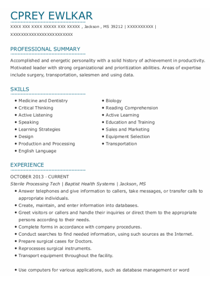 Sterile Processing Tech resume template Mississippi