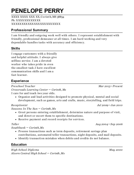 Preschool Teacher resume template Mississippi