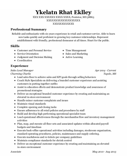 Sales Lead Manager resume example Mississippi