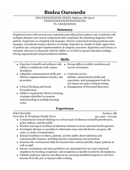 Assistant Nurse Manager resume example Mississippi