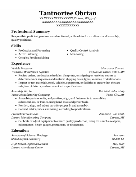 Assembly Worker resume example Mississippi
