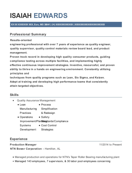 Production Manager resume template Mississippi