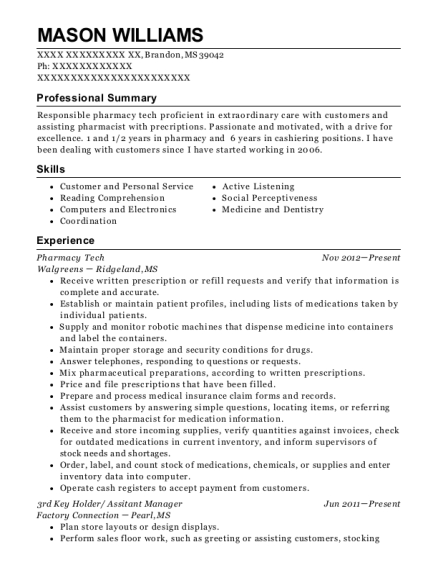 Pharmacy Tech resume example Mississippi