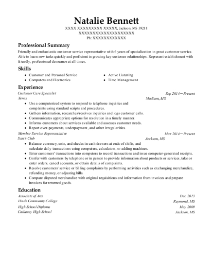 Customer Care Specialist resume example Mississippi