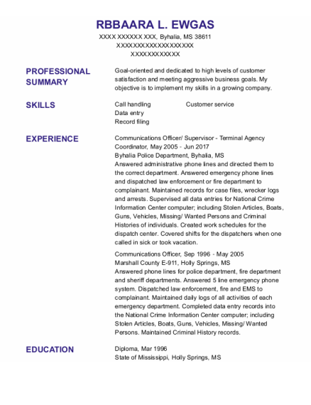 Communications Officer resume example Mississippi