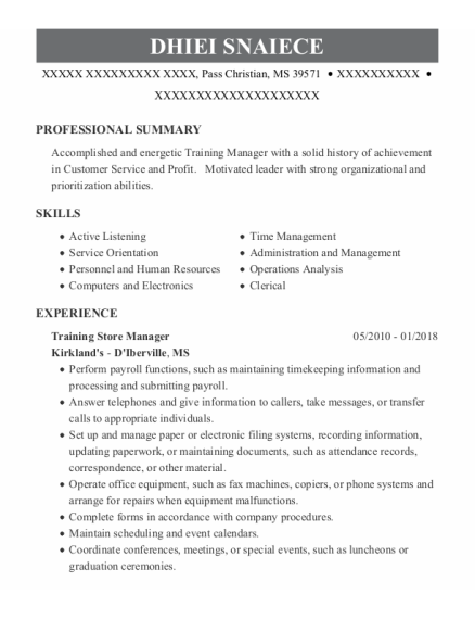Training Store Manager resume template Mississippi