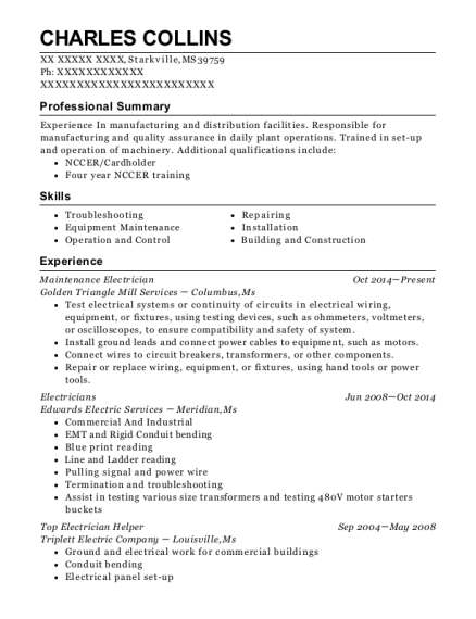 Maintenance Electrician resume template Mississippi