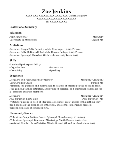 Lifeguard and Permanent Staff Member resume template Mississippi