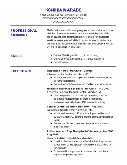 Registered Nurse resume format Mississippi