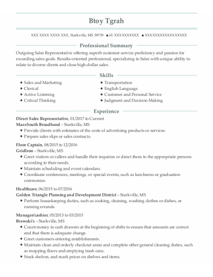 Direct Sales Representative resume template Mississippi