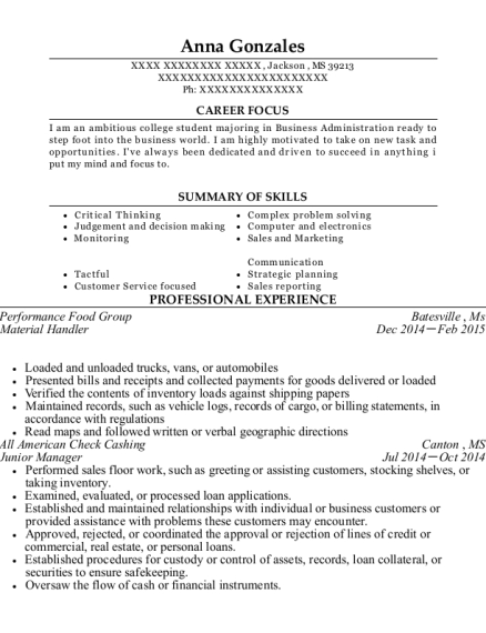 Material Handler resume sample Mississippi