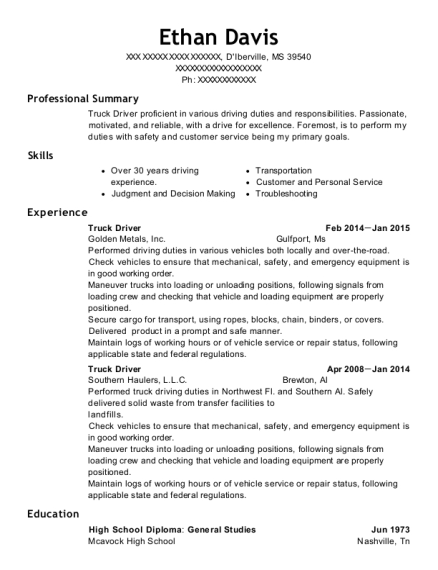 Truck Driver resume sample Mississippi