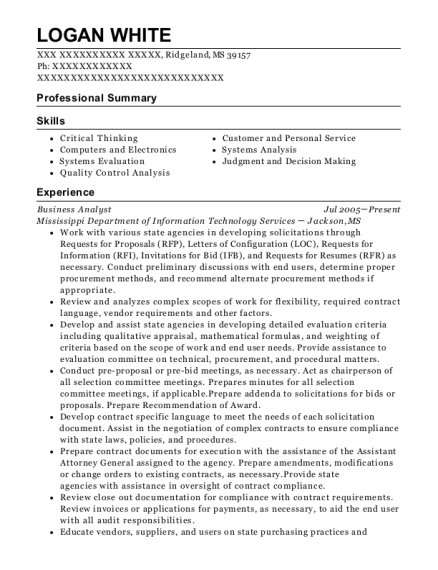 Business Analyst resume template Mississippi