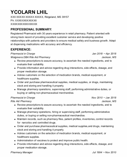 Pharmacist In Charge resume format Mississippi