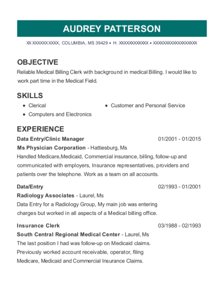 Data Entry resume template Mississippi