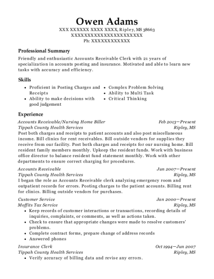 Accounts Receivable resume format Mississippi