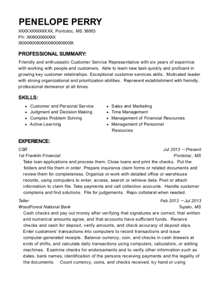 CSR resume template Mississippi