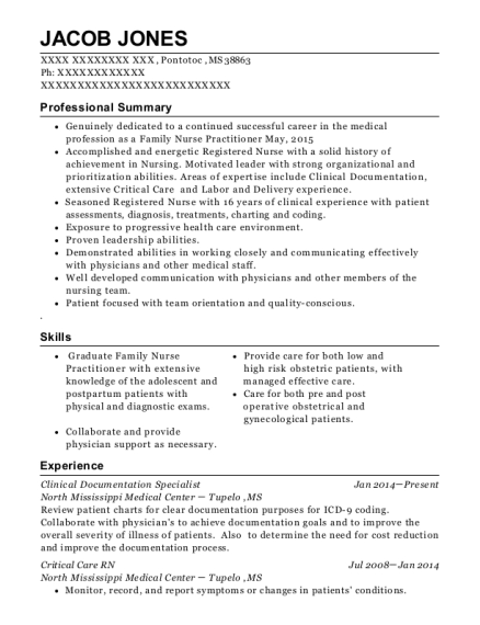 Clinical Documentation Specialist resume example Mississippi