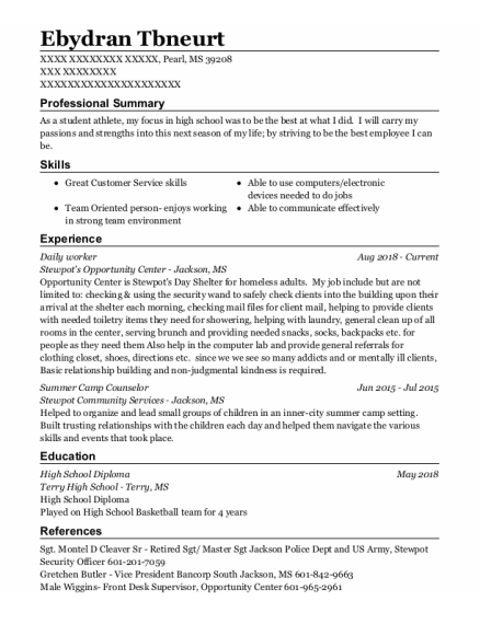 Summer Camp Counselor resume example Mississippi