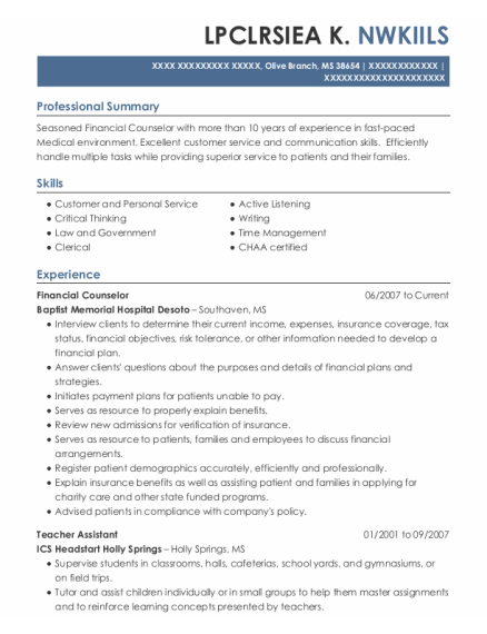 FINANCIAL COUNSELOR resume format Mississippi