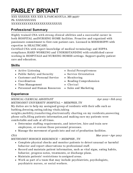 MEDICAL CLERICAL ASSISTANT resume example Mississippi