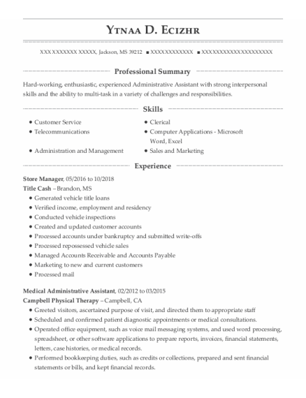 Store Manager resume example Mississippi