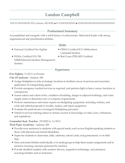 Fire Fighter resume sample Mississippi