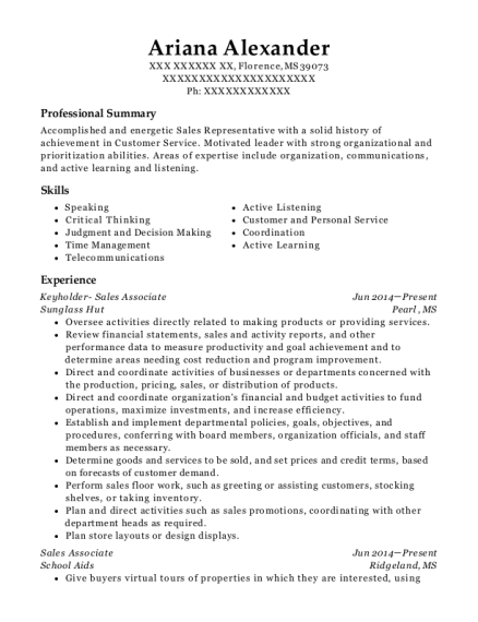 Keyholder Sales Associate resume template Mississippi