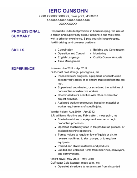 Foreman resume sample Mississippi