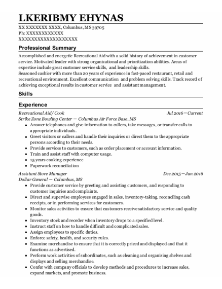 Recreational Aide resume template Mississippi