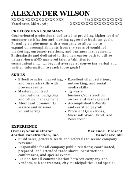 Owner resume template Mississippi