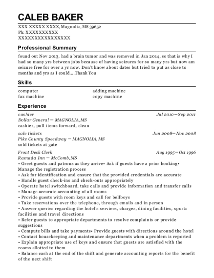 Cashier resume example Mississippi
