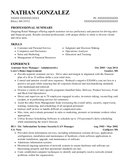 Assistant Store Manager Administrative resume sample Mississippi
