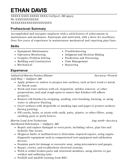 Industrial Marine Painter resume sample Mississippi