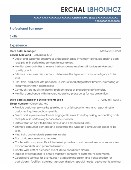 Store Sales Manager resume format Missouri