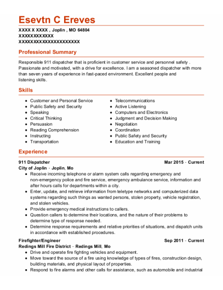 911 Dispatcher resume sample Missouri