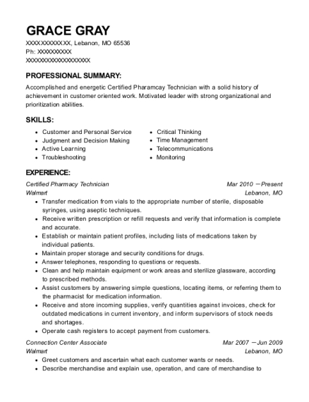 Certified Pharmacy Technician resume format Missouri