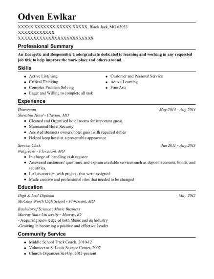 Houseman resume format Missouri
