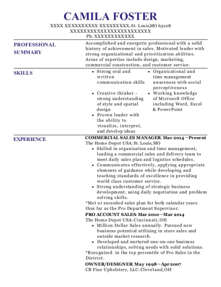 Commercial Sales Manager resume example Missouri